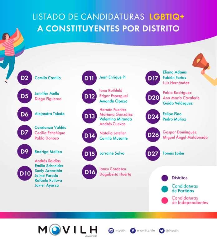 El Movilh llamó a la diversidad sexual y de género e informarse sobre los propuestas de las candidaturas LGBTIQ+, las cuales suman 38, distribuidas en diversas regiones.