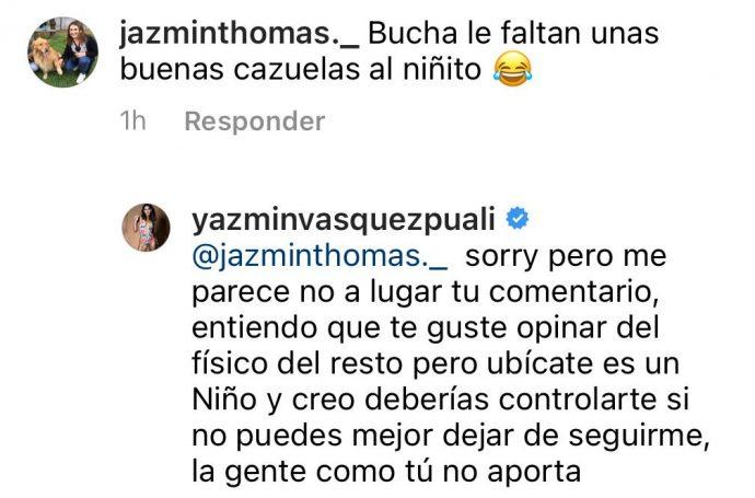 Yazmín Vásquez respondió sin filtro a comentario sobre aspecto físico de su hijo